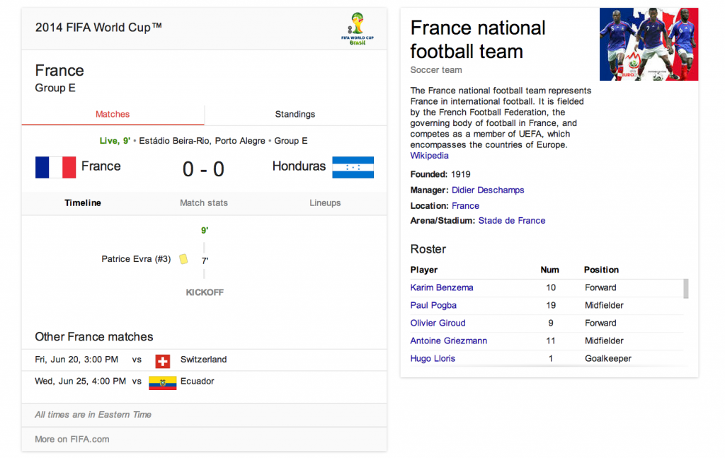world cup search results