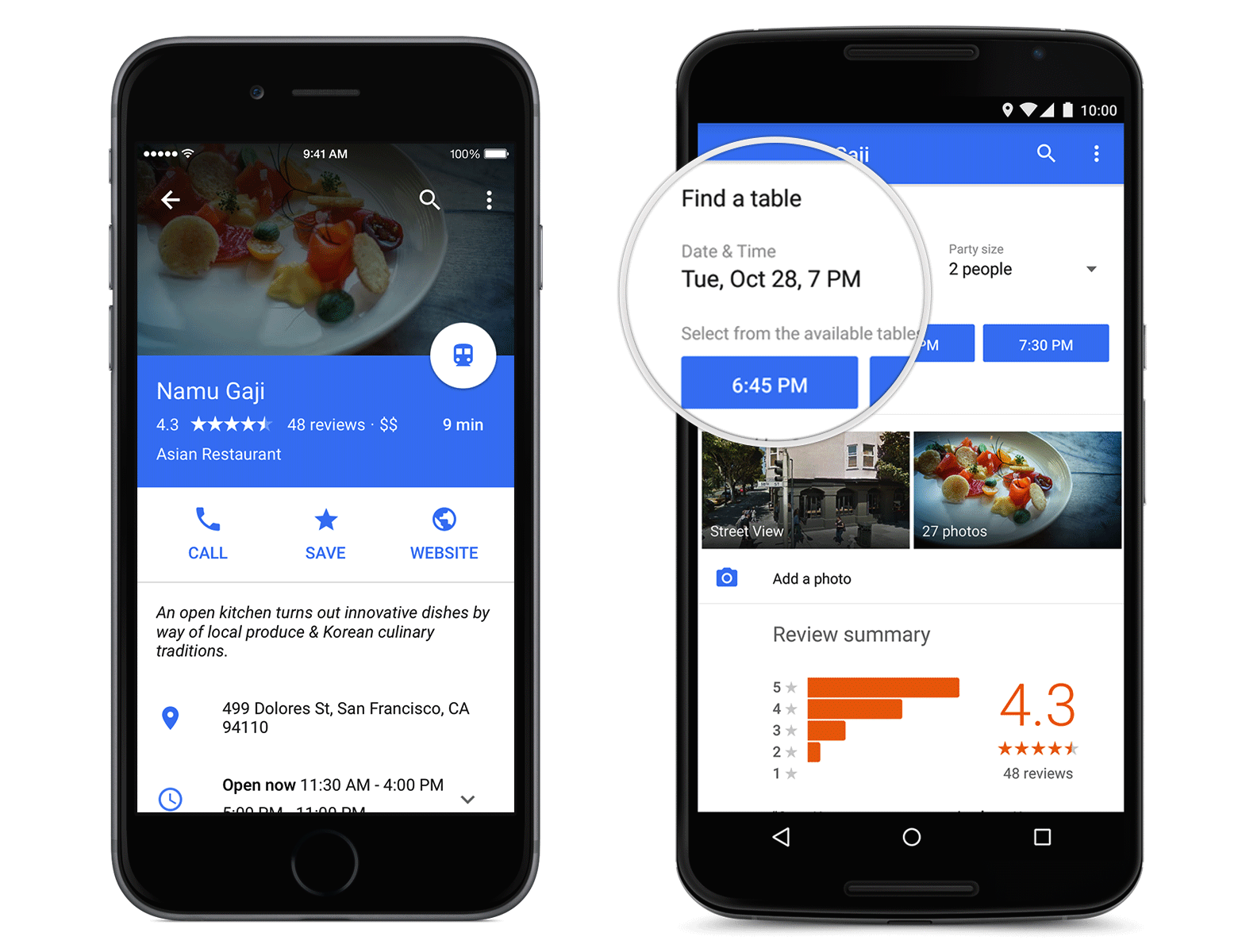 Google Maps Restaurant Reservations