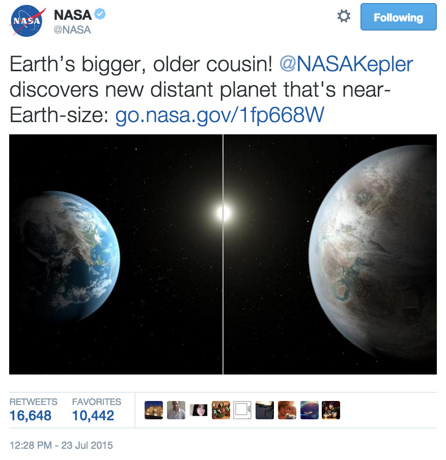 nasa tweet earth 2