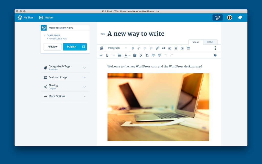 new wordpress admin interface