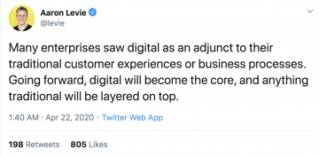 tweet describing how digital will become the core of businesses
